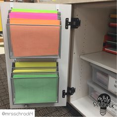 Use paper sorters inside of cabinets for extra storage.