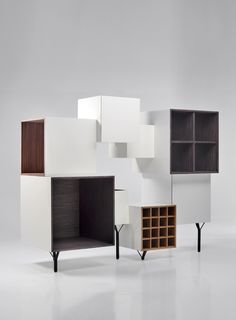 Martí Guixé has designed this Free Port cabinet for Spanish company BD Barcelona. Made of MDF that includes veneer of various types of wood with different Furniture Making, Cool Furniture, Modern Furniture, Furniture Design, Cabinet Furniture, Modular Cabinets, Modern Cabinets, Modern Sideboard, Interior Decorating