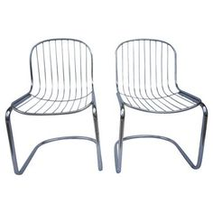 Check out this item at One Kings Lane! Chrome Cantilevered Chairs, Pair