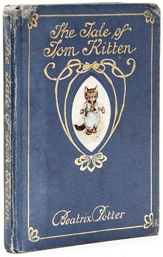'The tale of Tom Kitten' by Beatrix Potter. Art Nouveau style book cover. The book was released in September 1907. The tale is about manners and how children react to them.