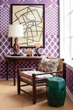 adore the chair & cushions . fun use of wallpaper . designed by john robshaw Purple Wallpaper, Of Wallpaper, Deco Cool, Sweet Home, Up House, Room Colors, Living Spaces, Living Room, Interior Design Inspiration