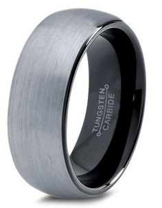 BRUSHED DOMED TUNGSTEN WEDDING RING WITH BLACK POLISHED INSIDE. SALE $174.99 By Northern Royal
