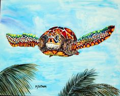Turtle Painting - Final Approach by Maria Barry Sea Turtle Art, Turtle Painting, Blue Backgrounds, Fine Art America, Original Artwork, Greeting Cards, Pets, Art Life, Animals