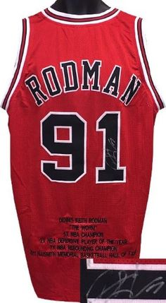Dennis Rodman signed Red Custom Stitched Basketball Jersey w  Embroidered  Stats XL 933d7e71e