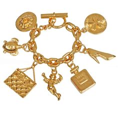 Iconic Large CHANEL Charm Bracelet by None, via Polyvore