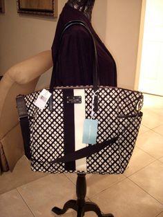 Kate Spade Adaira Classic Print Black Cream Baby Diaper Bag Tote Nwt 199
