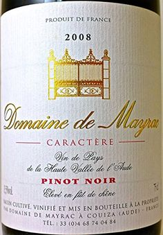2012 Domaine de Mayrac Caractère Pinot Noir - Certified Organic (AB) , No GMO -- Check this awesome product by going to the link at the image.