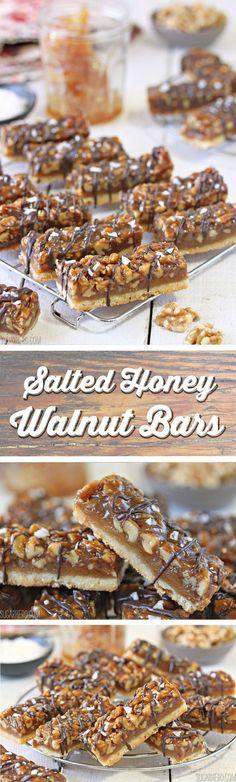 Salted Honey Walnut Bars - with a crispy shortbread crust, a caramel honey-walnut filling, and a big pinch of crunchy salt on top!