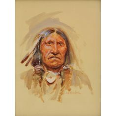 Joe Beeler - Indian Portrait   Watercolor kK