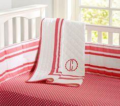 A girl? Harper Coral Dot Sheet (w/ Aiden's old navy crib skirt/bumper)