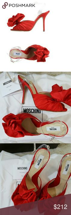 """NIB MOSCHINO RED SATIN HEELS SIZE 37 Hey, lady in red! Nice shoes! Said everyone.   Authentic  Original box and dust bag included  4.9"""" spike heels Clear ankle straps Round toeline  Leather sole Size 37EU or 7US So.glam.  Originally $433   Price firm.        Gucci Louis Vuitton Fendi burberry dior Dolce and Gabbana Versace Armani chanel Hermes prada Moschino Shoes"""