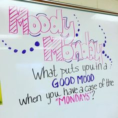 Morning Meeting Question of the day - Moody Monday - what puts you in a good mood when you have a case of the Mondays Teaching Writing, Writing Prompts, Teaching Tips, Writing Plan, Essay Writing, Morning Board, Morning Activities, Bell Work, Responsive Classroom