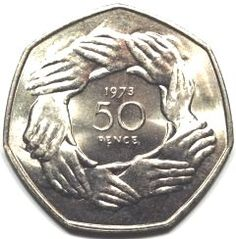 "1973 50p piece - ""the hands"" - to commemorate Britain joining the EEC"