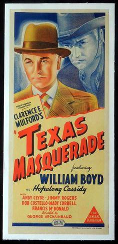 TEXAS MASQUERADE 1944 Hopalong Cassidy LINEN daybill Movie poster