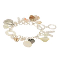 Silver link, toggle closure bracelet, featuring multiple seashell charms.