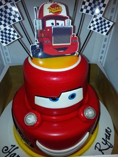 Disney pixar Cars theme cake with real LED head lights