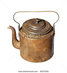 stock photo : Vintage copper kettle isolated on white with clipping path