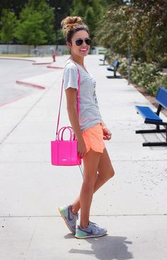 love the pop of color..neon sporty shorts
