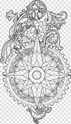 Ornamental Compass Roses ressource , gear and star illustration transparent background PNG clipart Star Illustration, Floral Illustrations, Gear Drawing, Gear Tattoo, Steampunk Animals, Rose Sketch, Leather Tooling Patterns, Wind Rose, Black And White Sketches