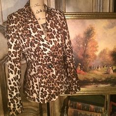 Cache Leopard Print jacket/Blazer Fashion must have!!  Cache fantastic fitted leopard print blazer. Made so well. Fits to the body beautifully. One button design. Fully lined. Cache Jackets & Coats Blazers