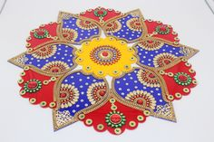 Excited to share this item from my shop: Acrylic rangoli/ home decor/Diwali /floor decorations/ Modak rangoli Diya Rangoli, Rangoli Ideas, Rangoli Designs, Diwali Diy, Diwali Gifts, Diwali Decorations At Home, Festival Decorations, Ganesh Chaturthi Decoration, Acrylic Rangoli
