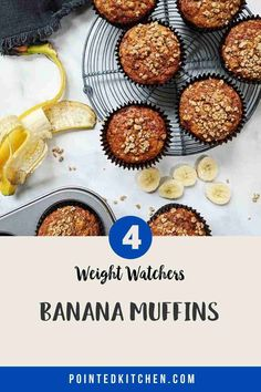 These Banana Muffins with their deliciously sweet crunchy streusel topping are just 4 Smart Points per serving on Weight Watchers Blue, Green, Purple Weight Watcher Cookies, Weight Watchers Desserts, Ww Recipes, Snack Recipes, Dessert Recipes, Healthy Banana Muffins, Sugar Free Pudding, Streusel Topping, Blue Green