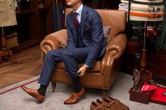 Navy blue suits, brown shoes, marsala tie