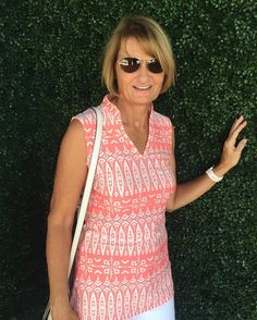 Out to lunch wearing our Tiki Tide Perry Lane Tunic Top. #allforcolor #atlanticave #delraybeach