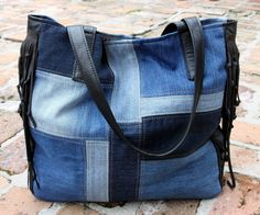 Image of Patchwork Denim and Leather Fringe Tote