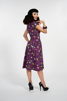 Pinup Couture Luscious Dress in Monster Mayhem Print