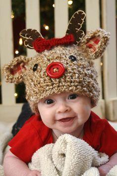 Reindeer+Crochet+Hat+by+ScrapmadeCreations+on+Etsy,+$32.50