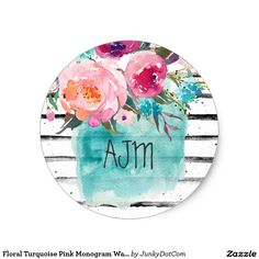 Floral Turquoise Pink Monogram Watercolor Bouquet Classic Round Sticker @zazzle #junkydotcom Sept 2016