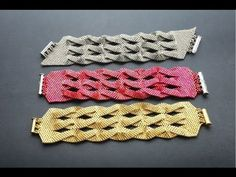 BRACCIALE FASCIA PEYOTE INCROCIATO  -Peyote bracelet  ~ Seed Bead Tutorials