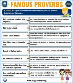 Proverbs List Of 25 Famous Proverbs With Useful Meaning Esl Grammar English Proverbs With Meanings Proverbs Proverb With Meaning