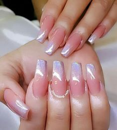 32 Trendy and Glamorous Ombre Coffin Nails for Your Inspiration Ombre nail designs are trendy and glamorous, so plenty of women are eager to have them. It seems very complicated at the first glance, but… Ombre Nail Colors, Ombre Nail Designs, Gradient Color, Glitter Ombre Nails, Silver Glitter, Acrylic Nails Coffin Ombre, Glitter Toms, Blush Nails, Pastel Nails