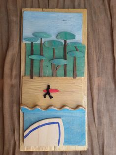 Playa de Somo Spain. Wood and neoprene recycled.