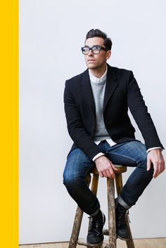 White shirt, grey cardigan, black blazer worn over blue denim, smart style for men, glasses add a cute geeky look :)