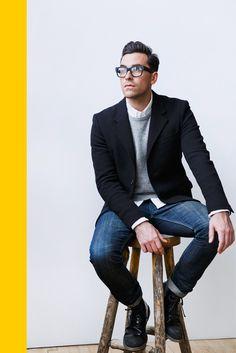White shirt, grey cardigan, black blazer worn over blue denim, smart style for men, glasses add a cute geeky look :)
