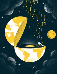 """Illustrated Science World Record - Earlier this week John Boswell's """"A Glorious Dawn"""" became the first record to be played in space. In a craft conceived and created by Jack White and his label Third Man Records the album was lifted into orbit. Art And Illustration, Vogel Illustration, Illustrations, Illustration Editorial, Music Artwork, Art Music, Vinyl Art, Pop Art, Art Drawings"""