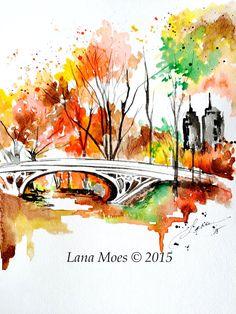 New York Love Watercolor Romantic Painting of Central Park - Original Watercolor Painting - Lana Moes Art - Wanderlust Illustration