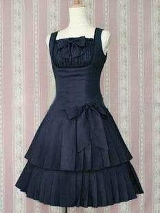 Dark-blue Attractive Classic Lolita Dress With Bows, ocrun.com