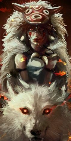 Is this art a tribute piece to Princess Mononoke, Studio Ghibli? Whether it is or not, it is stunning! Hayao Miyazaki, Manga Art, Anime Manga, Anime Art, Totoro, Me Me Me Anime, Anime Love, Mononoke Anime, Film Animation Japonais