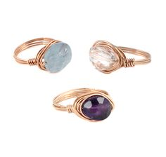 Rose Gold Rings and gemstones by Peggy Li Creations.