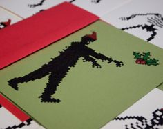 Zombie Santa holiday cards set of 4, 8 bit zombies christmas cards with mistletoe.