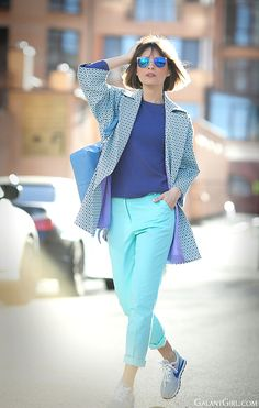 colorblocked outfit in blue colors with 3.1 Phillip Lim Pashli backpack on GalantGirl.com