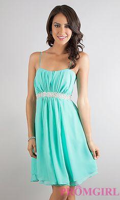 7aa5227c45d0 Short Spaghetti Strap Dress at PromGirl.com Like the Plum color WAY better  Promotion Dresses