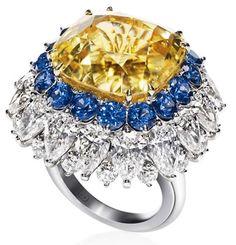 Harry Winston yellow sapphire, blue sapphire and diamond ring.