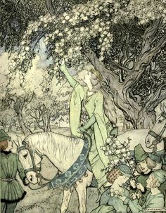 The romance of King Arthur and his Knights of the Round Table' abridged from Malory's Morte d'Arthur by Alfred W. Pollard. Illustrated by Arthur Rackham. Published 1917 by The Macmillan Company
