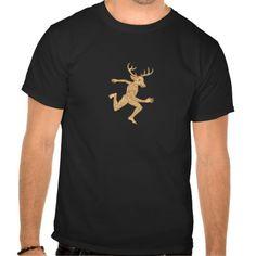 Half Man Half Deer With Tattoos Running T-shirts. Illustration of a half man half deer animal with tattoos running viewed from side done in cartoon style on isolated white background. #Illustration #HalfManHalfDeerWithTattoosRunning