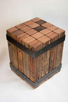 echtholzmöbel sitzhocker altholz